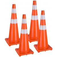 Road Traffic Cone 1.8m White With Reflectors